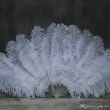 ostrich feather fans hot sale layer white ostrich feather fan handmade