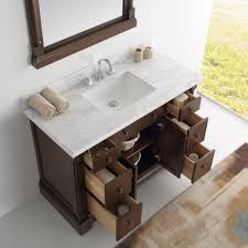 Antique Vanity With Mirror 49 Inch Antique Coffee Bathroom Vanity With Mirror Carrera Marble