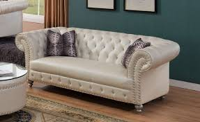 Beige Tufted Sofa by Glam Crystal Tufted Chesterfield Sofa In Beige Bonded Leather