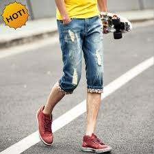 summer style capri fashion summer style teenagers hole ripped capri pants men washing