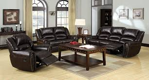 Black Leather Reclining Sofa And Loveseat Dudhope Upholstered Bonded Leather Reclining Sofa Set Cm6960 S
