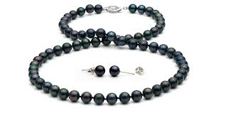 pearls necklace set jewellery images Black akoya pearl necklace and earrings 6 0 6 5mm jpg