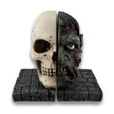 Unique Bookends Amazon Com Creepy Half Zombie Half Skull Bookends Set Of 2 Home