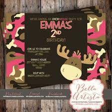 pink camouflage moose birthday invitation camo hunting pink