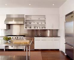 stainless steel backsplash kitchen contemporary with mixed