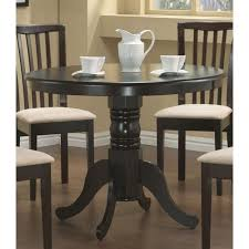 Round Dining Room Table With Leaf Amazon Com Coaster Pedestal Round Dining Table Cappuccino Finish