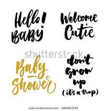 hello baby shower hello baby welcome cutie baby shower stock vector 608863838
