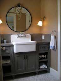 Bathroom Round Mirror by Antique Bathroom Vanity With Farmhouse Style Sink And Round Mirror