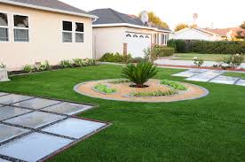 front yard landscaping concrete curb edging artificial turf