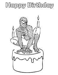spiderman birthday cake coloring u0026 coloring pages