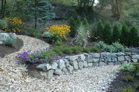 beds for landscape drainage of river rock landscaping ideas front