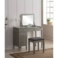 bedroom vanity bedroom vanity set in silver 580435sil01u