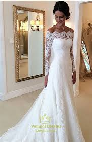 bridal dresses white lace the shoulder sheer sleeve wedding dress with