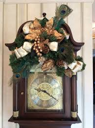 Peacock Decorations For Home Front Hall Grandfather Clock Decorated For Christmas Includes Gold