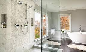 Master Bathroom Showers Master Bth With Freestanding Shower Transitional Bathroom