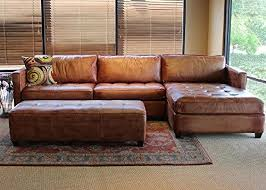 Phoenix  Full Aniline Leather Sectional Sofa With Chaise - Full leather sofas