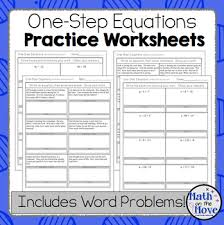 one step equations worksheets including word problems by math on