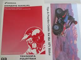 2003 honda owner u0027s manual trx500fa fourtrax foreman rubicon and
