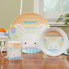 personalized dinnerware personalized easter bunny kids dishes happy easter
