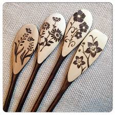 custom wood burned spoons floral set of 4 by suemadethat on etsy