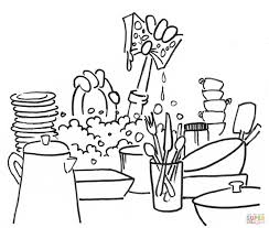 washing dishes coloring page free printable coloring pages
