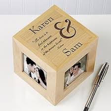 personalized wood photo cube to you