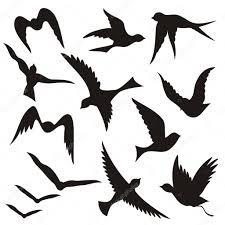 flying bird silhouettes u2014 stock vector fractal 6830951