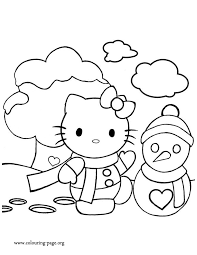 christmas kitty snowman coloring