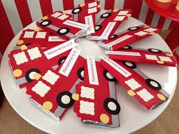 firetruck candy bar wrappers fire truck themed birthday party