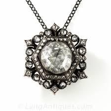 vintage necklace pendant images Large rose cut diamond brooch pendant jpg
