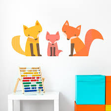Animal Wall Decals For Nursery Fox Family Wall Decal Children S Wall Decals Wallums