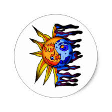 yin yang sun moon stickers labels zazzle uk