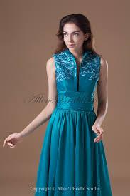 allens bridal taffeta high collar neckline floor length a line