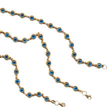 14k solid gold blue small drop evil eye bracelet