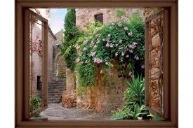 mural window view antique house with flowers 3 colours