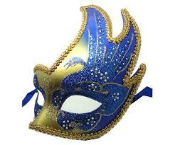 blue masquerade masks vibrant blue and gold swan detailed masquerade mask
