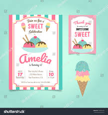 ice cream party birthday invitation template stock vector