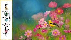 simple step by step landscape acrylic painting field of flowers