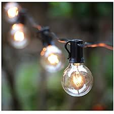 25ft g40 globe string lights with clear bulbs ul listed backyard