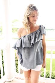 one shoulder blouse one shoulder ruffle blouse diy the sewing rabbit