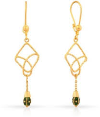 malabar earrings malabar gold and diamonds yellow gold 22kt drop earring best price