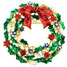 multicolor christmas bow wreath swarovski crystal pin brooch