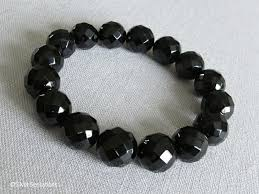 onyx bead bracelet images Faceted chunky black onyx beaded stretch bracelet silver sensations jpg