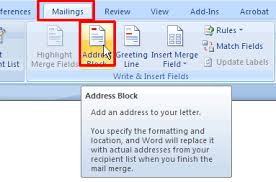 creating a form letter using mail merge