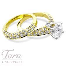 yellow gold wedding sets 19k yellow gold and platinum diamond wedding set tara