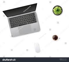 white office desk table laptop mouse stock vector 509744059