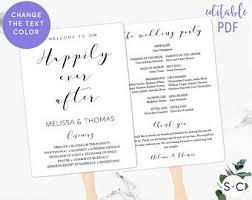 Wedding Bulletins Examples Wedding Program Fan