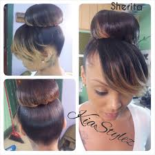 curly hair in high bun with bang bun with bang shiena hair styles pinterest straight hair weave