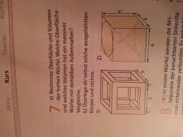 oberfläche eines würfels oberfläche und volumen eines hohlen würfels berechnen mathelounge