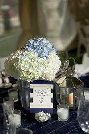 nautical preppy blue white centerpieces hydrangea table numbers